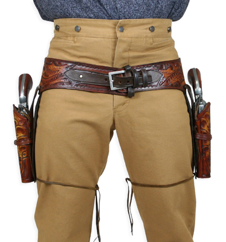 Steampunk Mens Brown Leather Tooled Gunbelt Holster Combo | Gothic | Pirate | LARP | Cosplay | Retro | Vampire || (.22 cal) Western Gun Belt and Holster - Double - Harvest Colors Tooled Leather