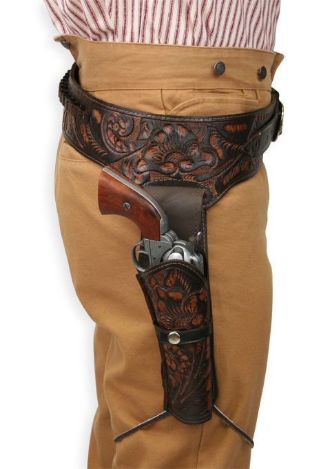 1800s Mens Brown Leather Tooled Gunbelt Holster Combo | 19th Century | Historical | Period Clothing | Theatrical || (.22 cal) Western Gun Belt and Holster - RH Draw - Two-Tone Brown Tooled Leather