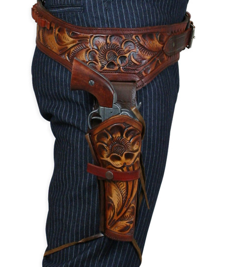 Vintage Mens Brown Leather Tooled Gunbelt Holster Combo | Romantic | Old Fashioned | Traditional | Classic || (.22 cal) Western Gun Belt and Holster - RH Draw - Harvest Tooled Leather
