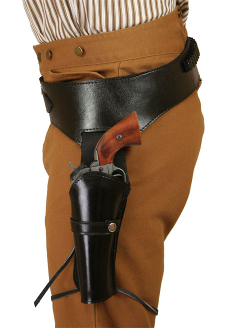 Victorian Mens Black Leather Un-Tooled Gunbelt Holster Combo | Dickens | Downton Abbey | Edwardian || (.38/.357 cal) Western Gun Belt and Holster - LH Draw - Plain Black Leather