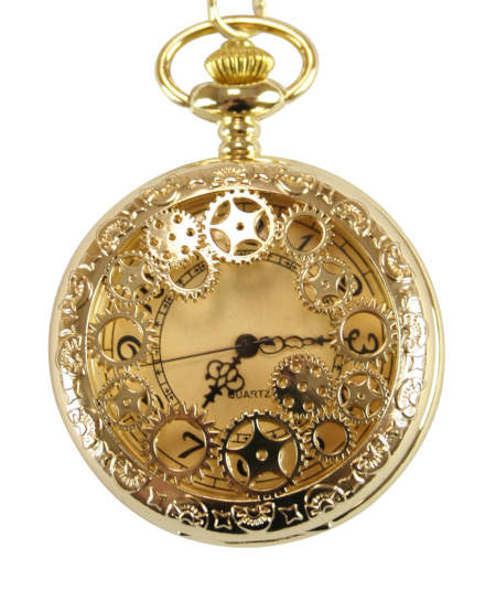 Steampunk Mens Gold Alloy Quartz Watch | Gothic | Pirate | LARP | Cosplay | Retro | Vampire || Cogs Pocket Watch - Gold