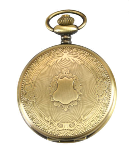 1800s Mens Gold Alloy Quartz Watch | 19th Century | Historical | Period Clothing | Theatrical || Shield Pocket Watch - Antique Gold