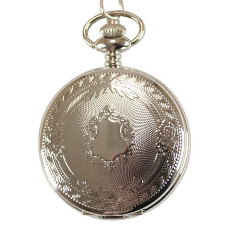 Wedding Mens Silver Alloy Quartz Watch | Formal | Bridal | Prom | Tuxedo || Shield Pocket Watch - Silver