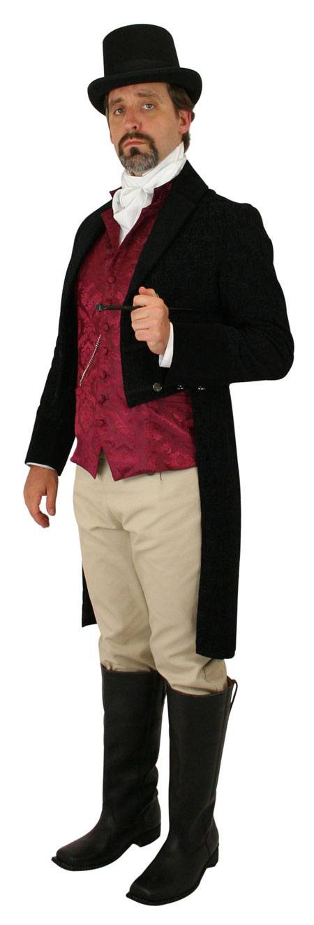 Sovereign Regency Tailcoat - Black Tapestry / Velvet