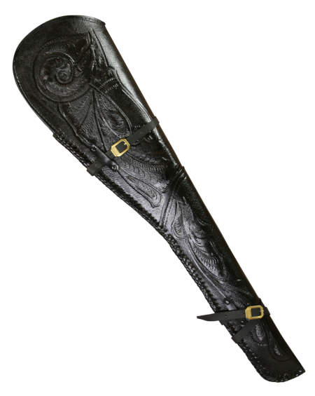Rifle Scabbard - Black Tooled Leather 30/30