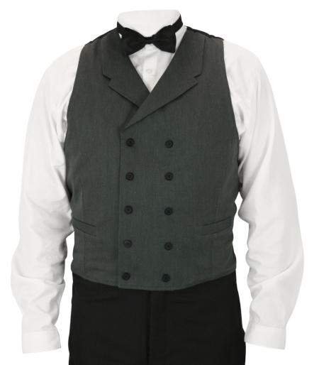 Callahan Double Breasted Vest - Charcoal