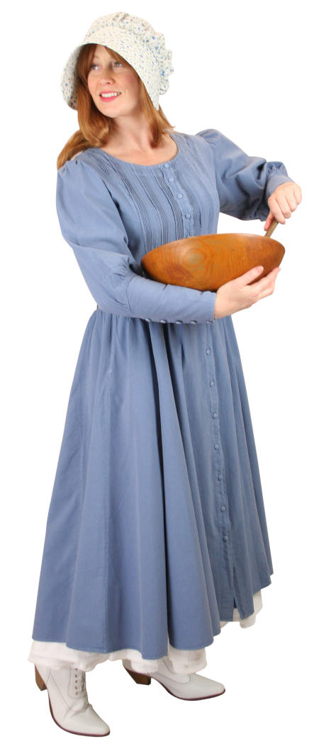 Victorian Ladies Blue Cotton Solid Dress | Dickens | Downton Abbey | Edwardian || Cordelia Pioneer Dress - Slate Blue