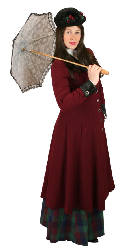 Steampunk Ladies Burgundy,Red Notch Collar Frock Coat | Gothic | Pirate | LARP | Cosplay | Retro | Vampire || Veronica Frock Coat - Burgundy