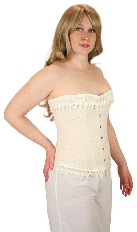 1800s Ladies Tan Floral Corset | 19th Century | Historical | Period Clothing | Theatrical || Desiree Overbust Fashion Corset - Beige