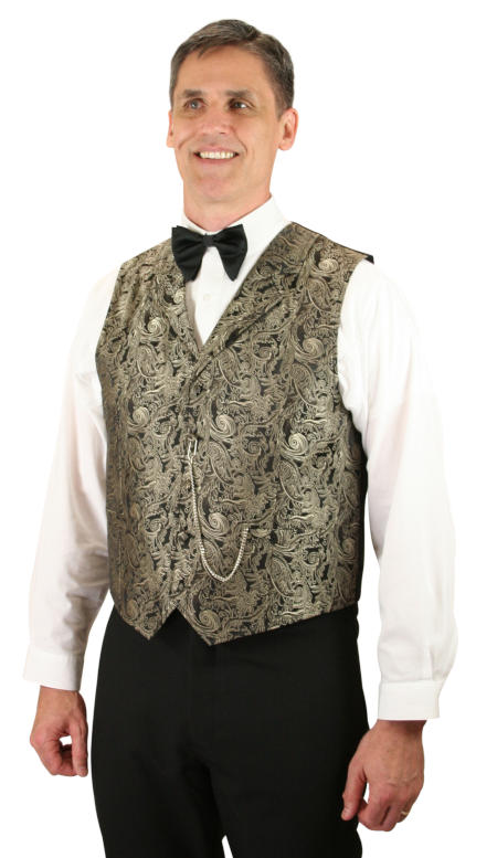 Vintage Mens Brown Scroll Notch Collar Dress Vest | Romantic | Old Fashioned | Traditional | Classic || Hawthorn Vest - Brown