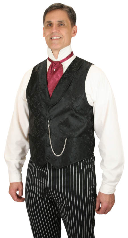 Vintage Mens Black Scroll Shawl Collar Dress Vest | Romantic | Old Fashioned | Traditional | Classic || Loxley Vest - Black
