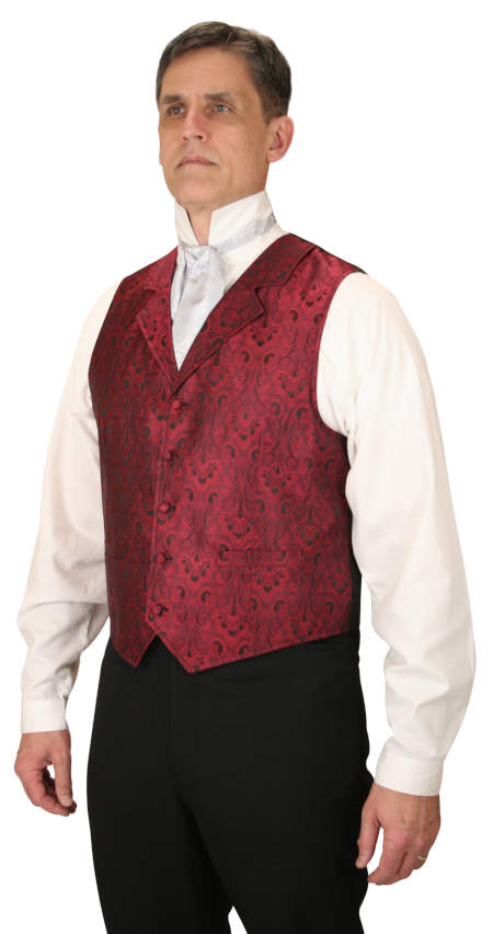 Wedding Mens Red Floral Notch Collar Dress Vest | Formal | Bridal | Prom | Tuxedo || Moultrie Vest - Red