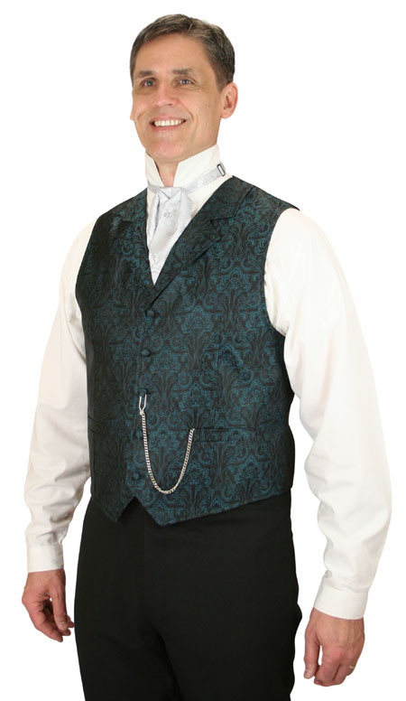Victorian Mens Blue Floral Notch Collar Dress Vest | Dickens | Downton Abbey | Edwardian || Moultrie Vest - Teal