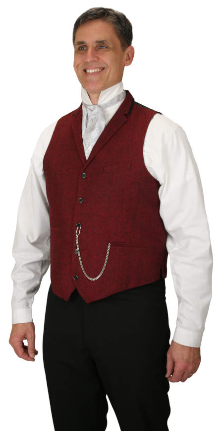 Steampunk Mens Red Herringbone Notch Collar Dress Vest | Gothic | Pirate | LARP | Cosplay | Retro | Vampire || Hendricks Vest - Red Herringbone