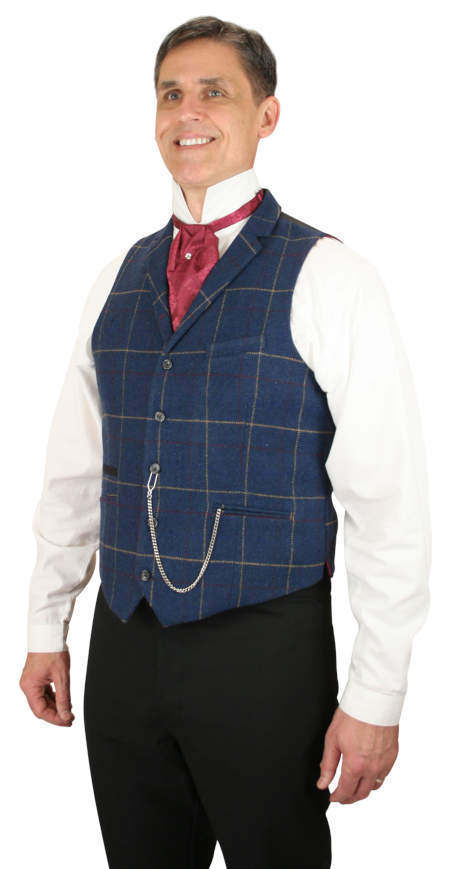 1800s Mens Blue Plaid Notch Collar Dress Vest | 19th Century | Historical | Period Clothing | Theatrical || Hanover Vest - Blue Plaid