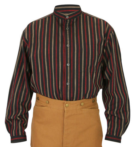 Vintage Mens Red,Black Cotton Stripe Band Collar Work Shirt | Romantic | Old Fashioned | Traditional | Classic || Tompkins Striped Shirt - Red/Black