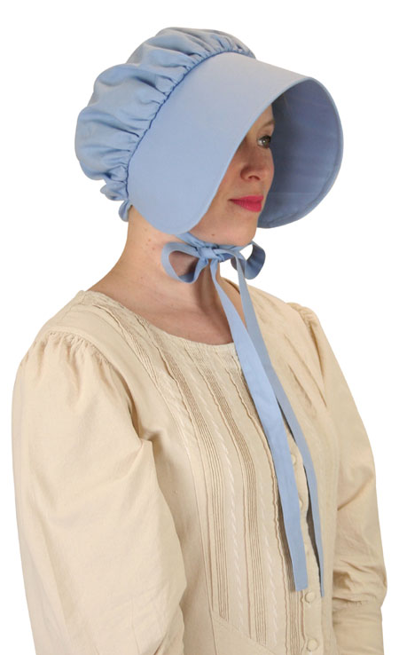 Victorian Ladies Blue Cotton Solid Bonnet | Dickens | Downton Abbey | Edwardian || Cotton Bonnet - Light Blue