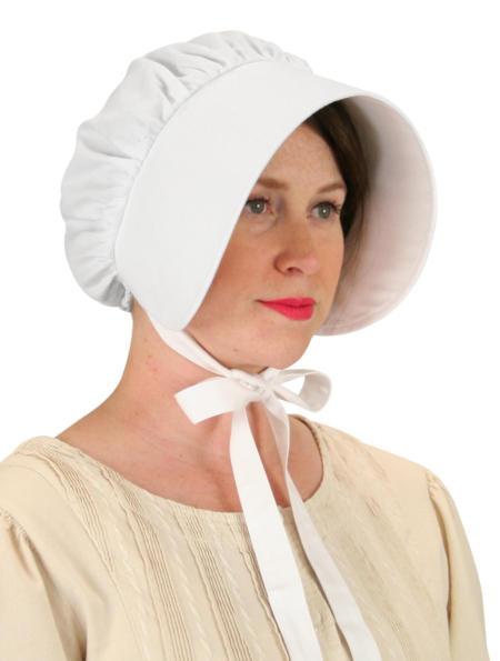 Steampunk Ladies White Cotton Solid Bonnet | Gothic | Pirate | LARP | Cosplay | Retro | Vampire || Cotton Bonnet - White
