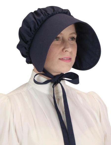 1800s Ladies Blue Cotton Solid Bonnet | 19th Century | Historical | Period Clothing | Theatrical || Cotton Bonnet - Navy