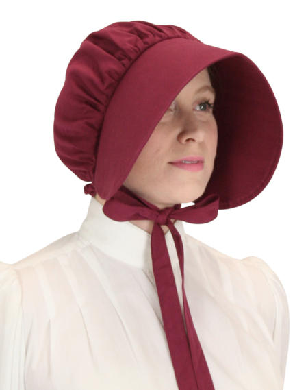 1800s Ladies Burgundy,Red Cotton Solid Bonnet | 19th Century | Historical | Period Clothing | Theatrical || Cotton Bonnet - Burgundy