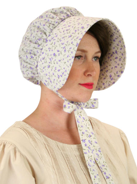 Vintage Ladies Purple Cotton Floral Bonnet | Romantic | Old Fashioned | Traditional | Classic || Cotton Bonnet - Purple Floret