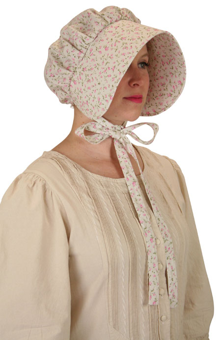Vintage Ladies Red Cotton Floral Bonnet | Romantic | Old Fashioned | Traditional | Classic || Cotton Bonnet - Pink Floret
