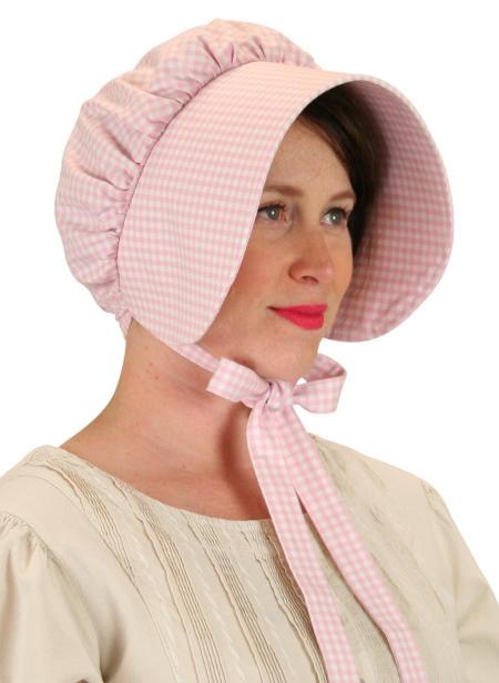 Wedding Ladies Red Cotton Check,Plaid Bonnet | Formal | Bridal | Prom | Tuxedo || Cotton Bonnet - Pink Check
