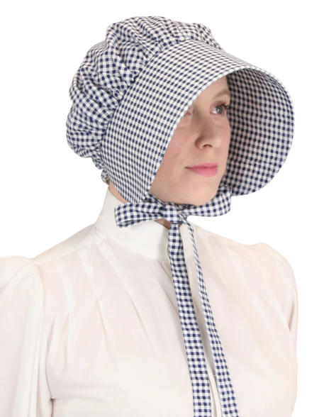 Victorian Ladies Navy Cotton Check,Plaid Bonnet | Dickens | Downton Abbey | Edwardian || Cotton Bonnet - Navy Check