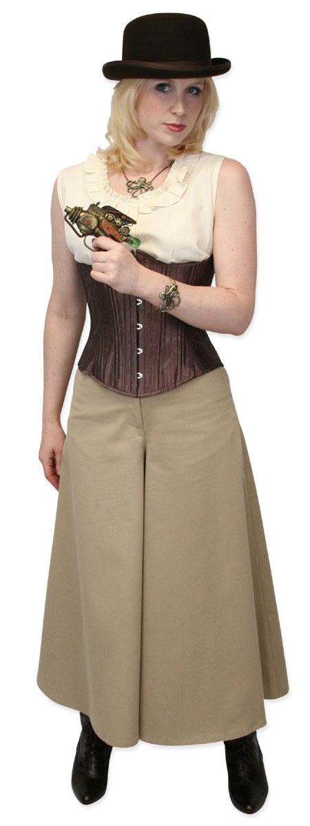 Steampunk Ladies Tan,Brown Cotton Solid Work Pants | Gothic | Pirate | LARP | Cosplay | Retro | Vampire || Classic Riding Pants - Khaki Twill