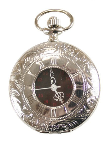 1800s Mens Silver Alloy Quartz Watch | 19th Century | Historical | Period Clothing | Theatrical || Inscribed Window Pocket Watch - Silver