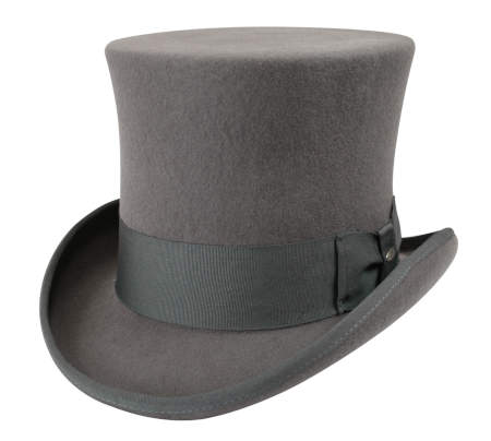 Vintage Mens Gray Wool Felt Top Hat | Romantic | Old Fashioned | Traditional | Classic || Victorian Top Hat - Gray