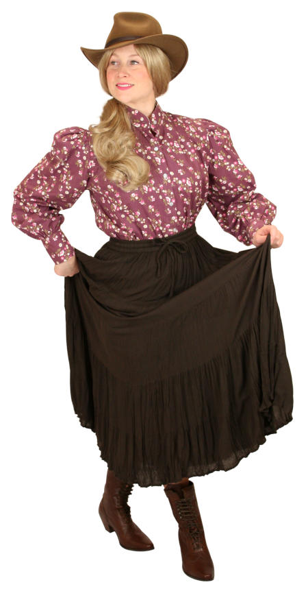 Vintage Ladies Brown Solid Work Skirt | Romantic | Old Fashioned | Traditional | Classic || Hestia Broomstick Skirt -  Brown Crepe