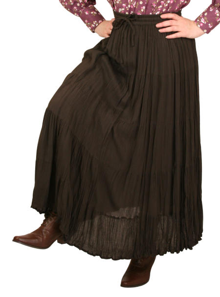 Hestia Broomstick Skirt -  Brown Crepe