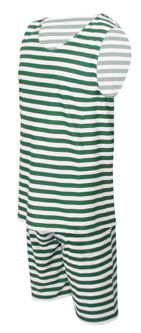 Mens 1900s Tank Bathing Suit - Green/White