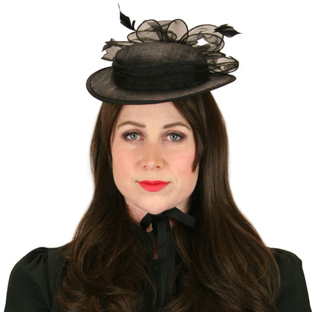Steampunk Ladies Black Solid Boater | Gothic | Pirate | LARP | Cosplay | Retro | Vampire || Juliet Fascinator - Black