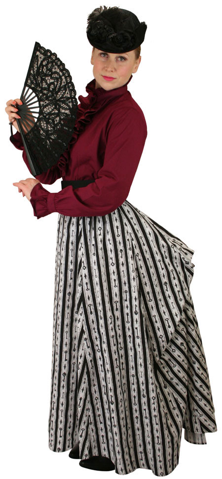 Steampunk Ladies Burgundy,Red Cotton Solid Stand Collar Blouse | Gothic | Pirate | LARP | Cosplay | Retro | Vampire || Emmeline Ruffle Blouse - Burgundy
