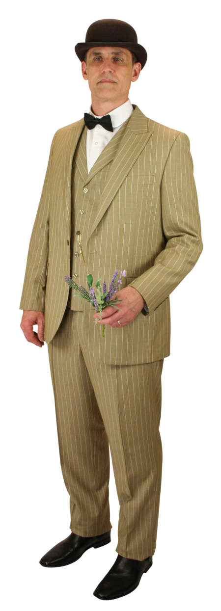 Wedding Mens Tan,Brown Wool Stripe Suit | Formal | Bridal | Prom | Tuxedo || Guthrie Suit - Tan Stripe