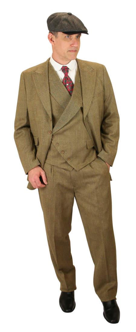 Victorian Mens Brown Wool Solid,Herringbone Suit | Dickens | Downton Abbey | Edwardian || Dayton Suit - Brown Wool