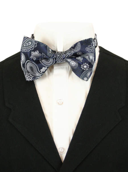 Steampunk Mens Gray,Blue Paisely Bow Tie | Gothic | Pirate | LARP | Cosplay | Retro | Vampire || Glacial Bow Tie - Gray