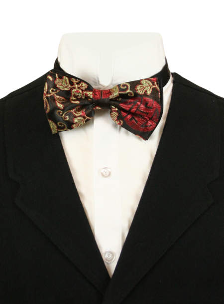1800s Mens Red,Gold,Black Floral Bow Tie | 19th Century | Historical | Period Clothing | Theatrical || Auspicious Bow Tie - Gold