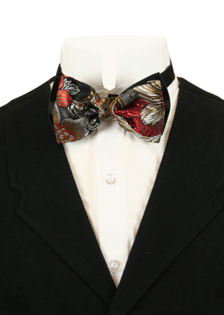 1800s Mens Red,Silver,Black Floral Bow Tie | 19th Century | Historical | Period Clothing | Theatrical || Splendid Bow Tie - Gold