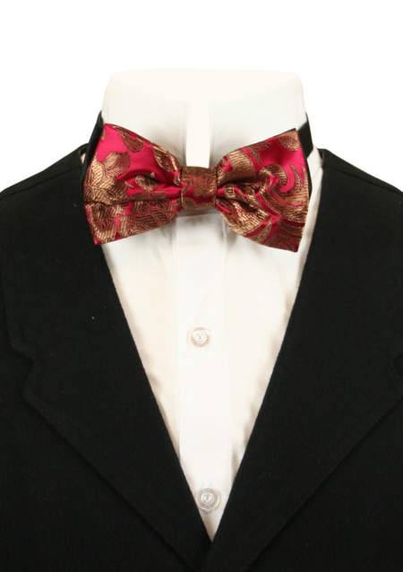 Vintage Mens Burgundy,Red,Gold Floral Bow Tie | Romantic | Old Fashioned | Traditional | Classic || Camellia Bow Tie - Burgundy