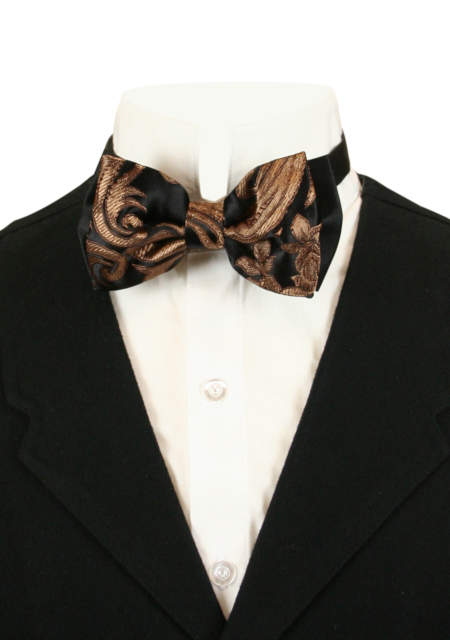 Vintage Mens Black,Brown Floral Bow Tie | Romantic | Old Fashioned | Traditional | Classic || Camellia Bow Tie - Black