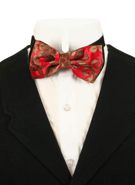 Wedding Mens Red,Gold Floral Bow Tie | Formal | Bridal | Prom | Tuxedo || Camellia Bow Tie - Scarlett