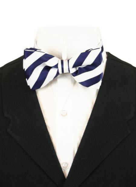 Victorian Mens Blue,White Stripe Bow Tie | Dickens | Downton Abbey | Edwardian || Dandy Bow Tie - Navy/White Stripe