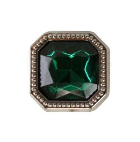 1800s Mens Green Metal Tie Tack | 19th Century | Historical | Period Clothing | Theatrical || Silver Square Tie Tack - Emerald