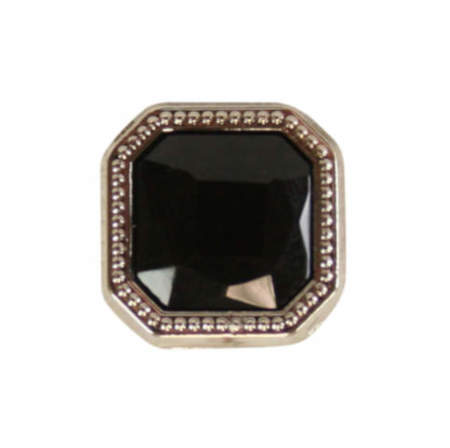 Vintage Mens Black Metal Tie Tack | Romantic | Old Fashioned | Traditional | Classic || Silver Square Tie Tack - Onyx