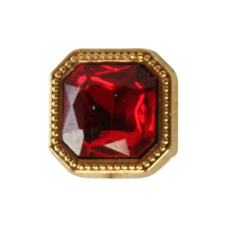 Vintage Mens Red Metal Tie Tack | Romantic | Old Fashioned | Traditional | Classic || Gold Square Tie Tack - Ruby