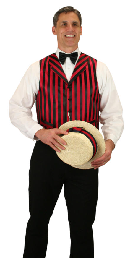 Steampunk Mens Red,Black Stripe Notch Collar Dress Vest | Gothic | Pirate | LARP | Cosplay | Retro | Vampire || Ragtime Vest - Black/Red Stripe