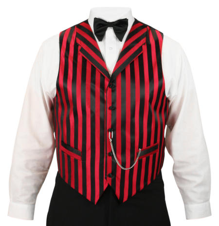 Ragtime Vest - Black/Red Stripe
